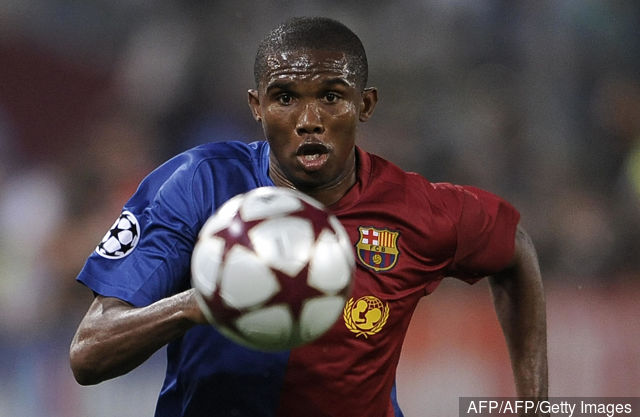 Barcelona's Samuel Eto'o runs with the ball during the UEFA football Champions League final against Manchester United on May 27, 2009 at the Olympic Stadium in Rome. AFP PHOTO